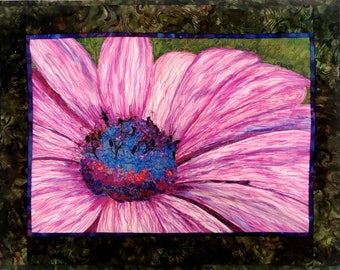 Daisy Art Quilt, Floral Fiber Wall Hanging, Pink Green Decor, Quilted Wall Art, Mixed Medium, Sally Manke FiberArt, Inktense Confetti, OOAK