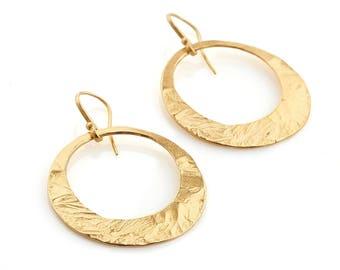 Dangling gold hoop earrings Special order to Alline