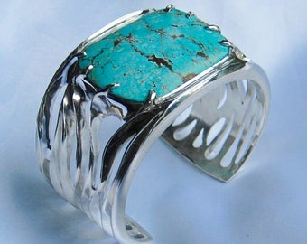 """Sterling SIlver w/turquoise cuff bracelet titled """"The Mill Run"""""""