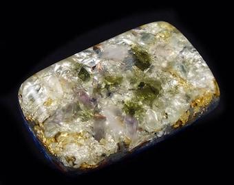 Orgonite® with Auralite Moldavite Fluorite, Arkansas Crystals, Phenacite Petalite Selenite Tourmaline, Elite Shungite, Rhodizite Silver (d19