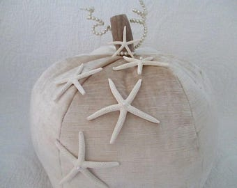 Nautical Pumpkin, Champagne Velour/Driftwood Stem/Starfish/Pearls
