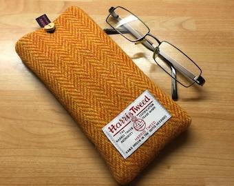 orange & mustard yellow herringbone Harris Tweed glasses case, tweed specs case, scottish gift, Mother's Day gift