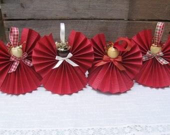 Dark Red Paper Angel / Christmas Ornament / U-Pick Ribbon Trim / Red Ribbon Angel / Tree Ornament / Paper Angel / Secret Santa / Teacher