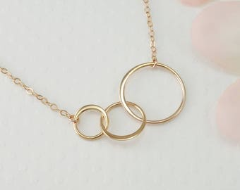 Rose Gold Three Circle Necklace, Three Best Friends Gift, 30th Birthday for Her, Three Sisters Necklace, Infinity, 3 Three Bridesmaid Gift