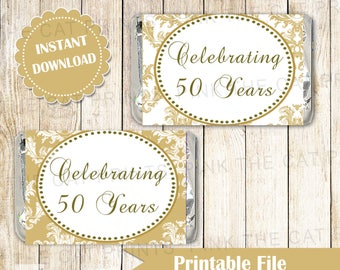 50th Anniversary Candy Labels - Golden Anniversary Candy Wrappers Gold Wedding Anniversary Labels Mini Candy Wrappers INSTANT DOWNLOAD