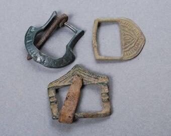 Set of 3 antique brass  belt buckles , dark patina