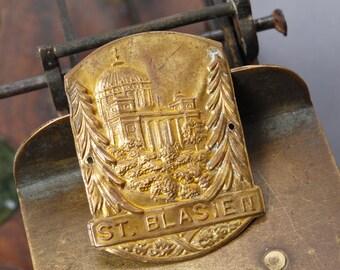 Antique brass plate, walking stick badge, embellishment, from Germany Sankt Blasien