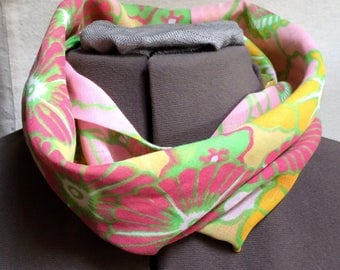 Vintage 1960s Lightweight Cotton Infinity Scarf Pink Yellow Mod -OS