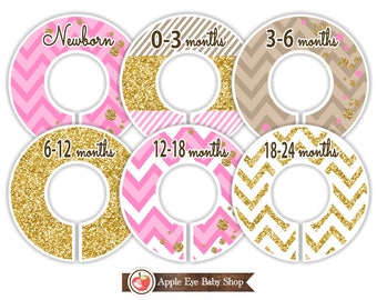 Baby Closet Dividers, Toddler Closet Dividers, Weekly Closet Organizer, Baby Girl, Nursery Closet Dividers, Gold Glitter Pink. GD1
