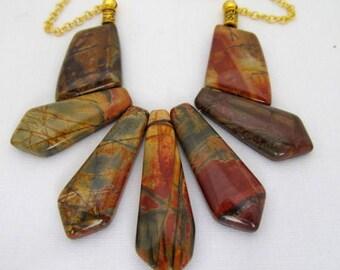 Picasso Jasper fan bib necklace gold 22 inches
