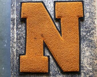 Vintage Varsity Letter Jacket Orange and Black Felt Patch - N Initial
