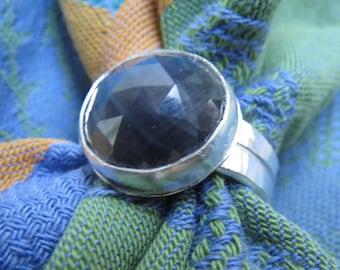 Large Blue Sapphire Rose Cut in Argentium Ring Size 9 & 3 Quarters