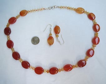 Carnelian Agate Hand Knotted Necklace w Earrings