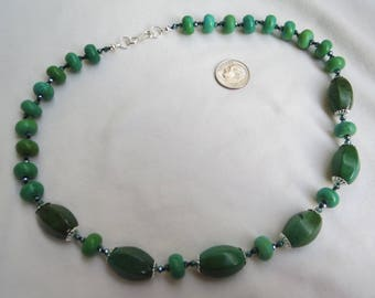 Green Turquoise & Sterling Necklace Hand Knotted