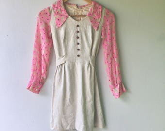 1960s Vintage Micro Mini Linen Scooter Dress with Neon Pink Floral Cotton Semi Sheer Sleeve // Size Xs
