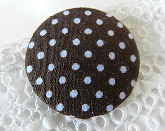 Button brown fabric with blue dots, 40 mm / 1.57 in diameter