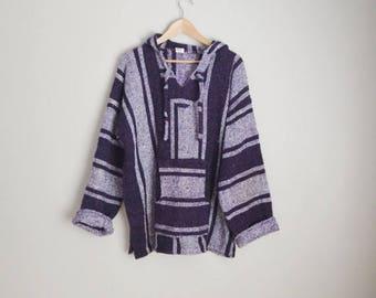Summer SALE - 20% off - vintage purple white baja hoodie surfer pullover --  mens xlarge