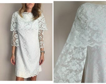 vintage 50s 60s light mint blue lace kneelength dress garden party shift mad men bridal wedding ethereal dress -- womens
