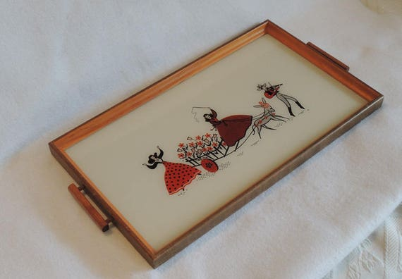 Vintage 1940s Kitsch Glass Serving Tray.. Cute Red, Black & White Graphics