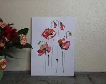 Bright Poppy Watercolor Painting