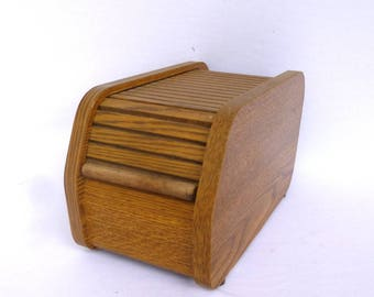 Vintage SMALL OAK TAMBOUR Box