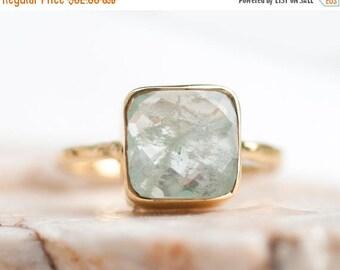 40 OFF - Aquamarine ring - March Birthstone Ring - Gemstone Ring - Stacking Ring - Gold Ring- Cushion Cut Ring