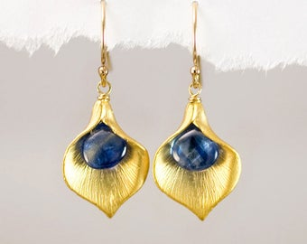 Gold Kyanite Calla Lilly Earrings, Blue Stone Dangle Earrings, Classic Earrings, Gift for Mom, Bridesmaid Gift, Floral Jewelry, Gift Ideas