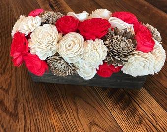 Christmas Decor- Sola Wood Flower Centerpiece- Farmhouse Decor- Rustic Decor- Wedding Centerpiece