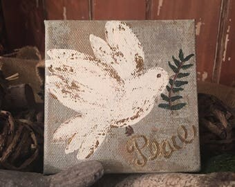 Acrylic painting, original art, dove painting
