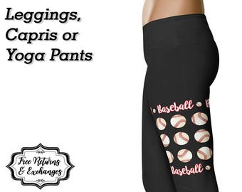 Baseball Leggings / Yoga Leggings / Yoga Pants / Baseball Mom / Printed Leggings / Womens Clothing / Workout Leggings / Gift for Her