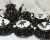 SELECTED SECONDS Black Gold Spooky Teaset, Halloween Tea Set, Durable & Foodsafe, Bat Tea Set, Crow Tea Set, Cat Tea Set, Eye Tea Set