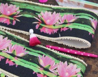 "Pink Lotus on Burlap Ribbon, Trim, Lace Sari Border, India 3.25""x1 Yard, Geometric Sewing, Rustic Modern, Boho Home Decorating Supply"