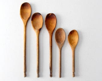 vintage wood spoon collection, wooden kitchen utensils