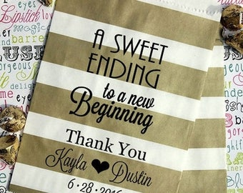 """GLAM SALE GLAM Sale - 250 Personalized Wedding Candy Bags, """"A Sweet Ending to a New Beginning"""", Custom Printed Party Favor Bags with Names a"""