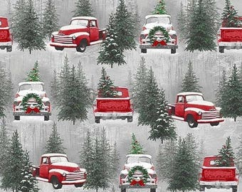 Henry Glass. Holiday Traditions. Scenic Red Grey - Cotton Fabric by the yard