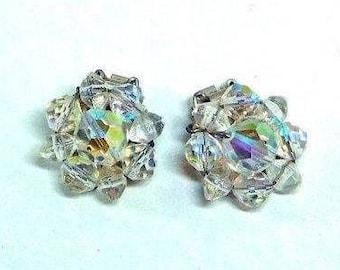 Vintage AB lead Crystal beaded Earrings Retro Glamour Sparkle Bride Holidays