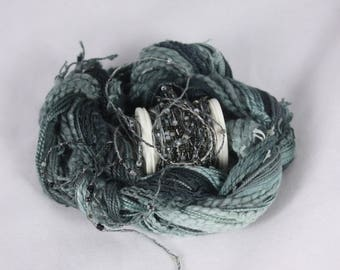 Stormy sky grey black silver Beaded Embroidery thread seed beads sequins hand dyed ribbon weaving supply quilting embellishment bead yarn