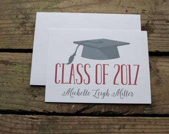 Graduation Thank You Cards, Custom, School Colors, High School, College, Kindergarten, Graduate, Custom Stationery, Red and Gray, Cap