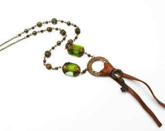 Leather and Crystal Tassel Necklace with Vintage French Skeleton Key - Green, Antique Brass, Brown