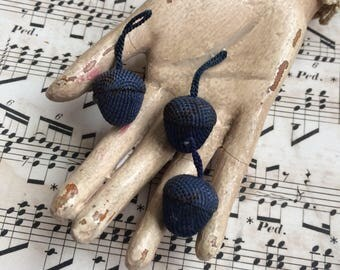 Even The Squirrels Would Love These Antique Navy Fabric Covered Acorn Tassles