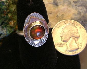 Bright Red Green & Yellow Fire Gem Ammolite Found in Utah Deposit, .925 Sterling Silver Under Copper on Silver Fine Jewelry Size 8 Ring 697