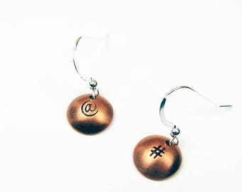 Geekery Jewelry - Internet Geek Earrings with Hashtag and At Sign Symbol for Social Media