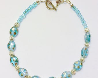Blue Glass and Silver Bracelet
