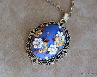 Polymer Clay Applique Statement Pendant Necklace in Blue and White