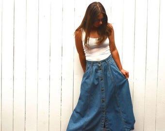 34% Off Sale - Denim Maxi Skirt - 1980s Cherokee Ankle Length Button Up Skirt - Vintage Jean Skirt with Pockets - Medium