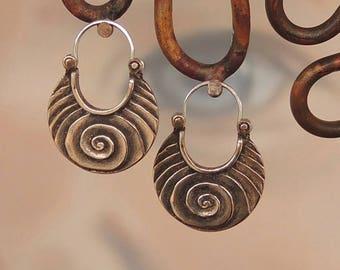 Bronze Large Scroll Hoop Earrings