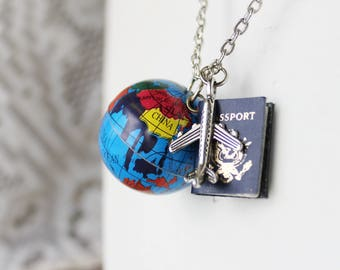 Globe Travel Necklace - World Map Necklace - Gift for Traveler - World Map Jewelry - Globe Travel Jewelry - Airplane Necklace - Map Jewelry