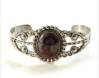 ON SALE Fred Harvey Era Bell Trading Post Petrified Wood Cuff Bracelet Sterling Navajo Native American