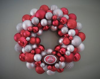 OHIO STATE BUCKEYES Ornament Wreath Football Team Wreath