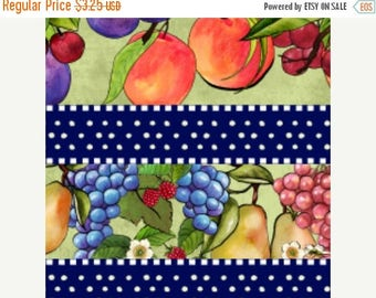CIJ CLEARANCE!  Summer Preserves, South Sea Imports Fabric, Fruit, Stripe Nancy Cupboard